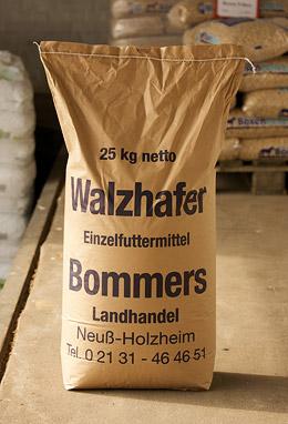 Ein 25 kg Sack Einzelfuttermittel mit der Sorte Walzhafer